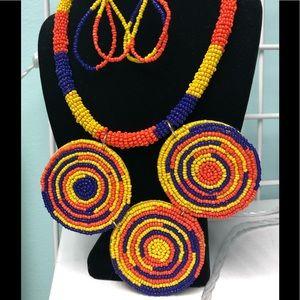 Artistic Multi Colored Necklace Set